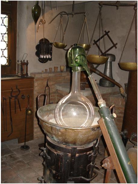 Reconstitution d'un laboratoire alchimique au Pharmazie-Historisches Museum de Bâle
