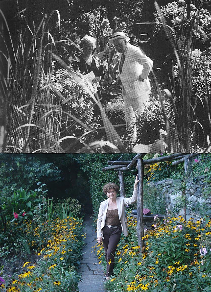 Olga Fröbe-Kapteyn et Carl Gustav Jung dans le jardin de la Fondation Eranos en 1936 / F. B. dans ce même jardin en 2014